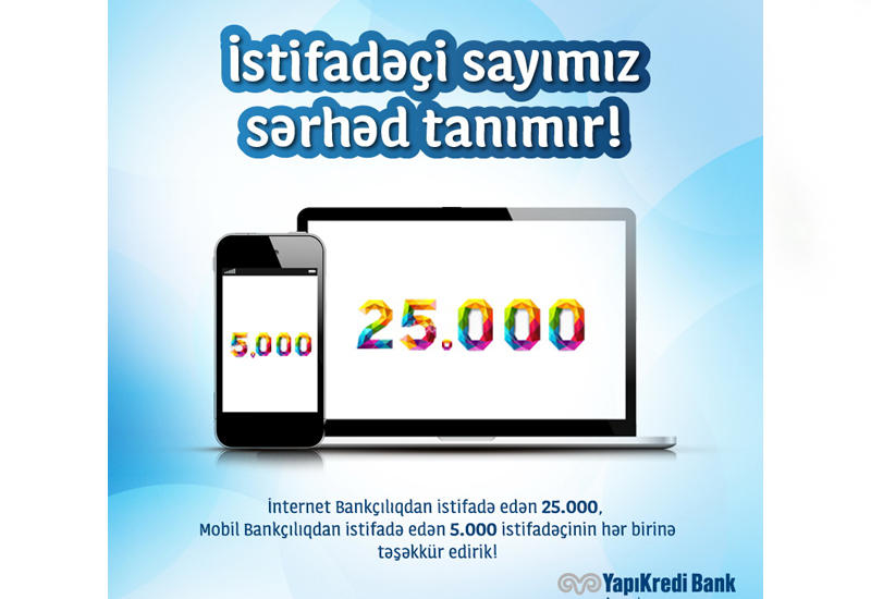 Yapı Kredi Bank Azərbaycan İnternet Bankçılıq məhsuluna müştərilərin güvəni artmaqdadır