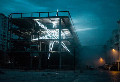 """Звезда из светодиодов внутри недостроенного здания <span class=""""color_red"""">- ФОТО</span>"""