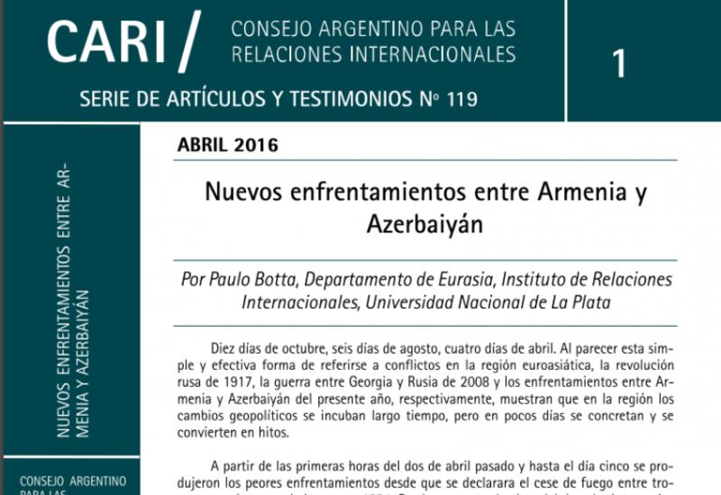 Аргентинский профессор рассказал об армянской агрессии