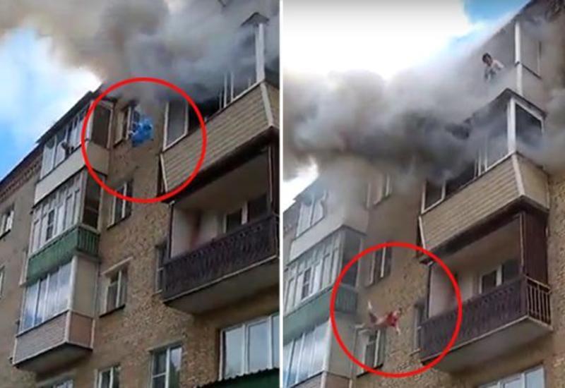 """Семья выбросилась с балкона, спасаясь от огня под Владимиром <span class=""""color_red"""">- ВИДЕО</span>"""