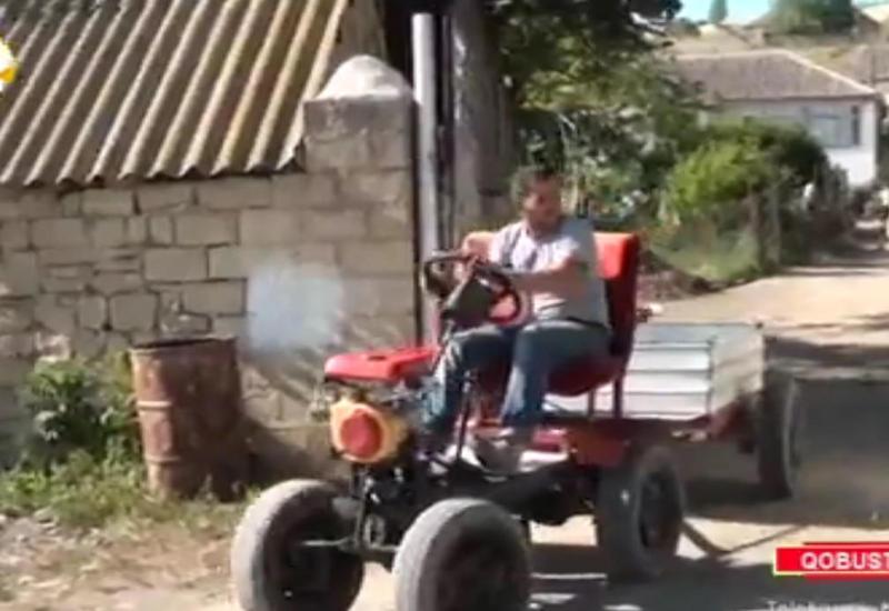 """Qobustan sakini 350 manata traktor düzəltdi - 100 km-ə 2 litr benzin işlədir <span class=""""color_red""""> - VİDEO - FOTO</span>"""