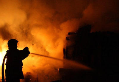 Пожар в доме торжеств - в Шамкире