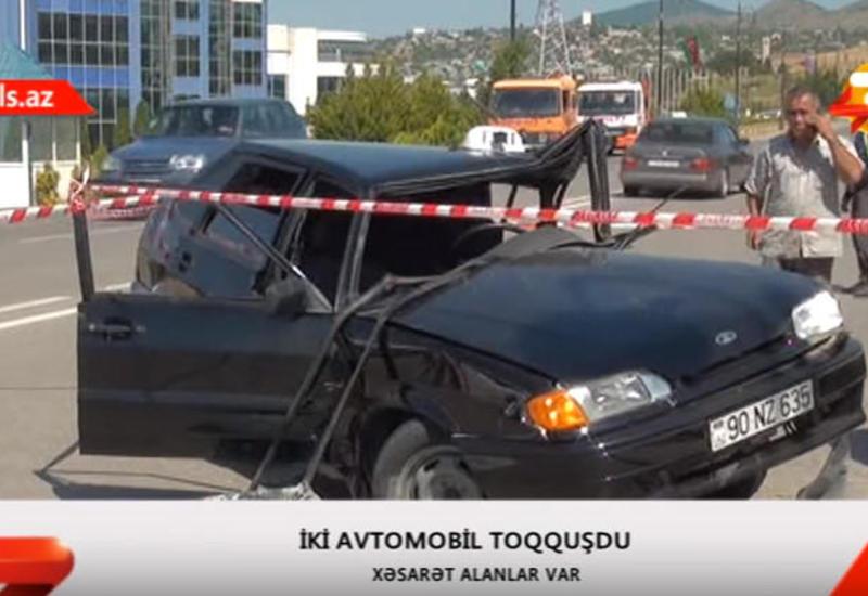 """Şamaxıda ağır qəza: sürücü ilə yanaşı piyada da yaralandı <span class=""""color_red"""">- VIDEO</span>"""