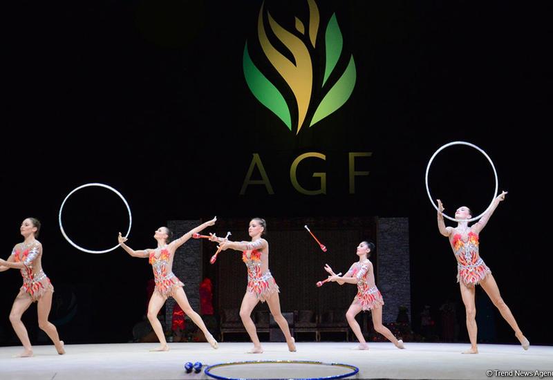 Азербайджанские гимнастки вышли в финал Кубка мира в Баку в групповых упражнениях