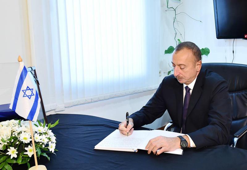 """Президент Ильхам Алиев посетил посольство Израиля в Баку <span class=""""color_red"""">- ФОТО</span>"""