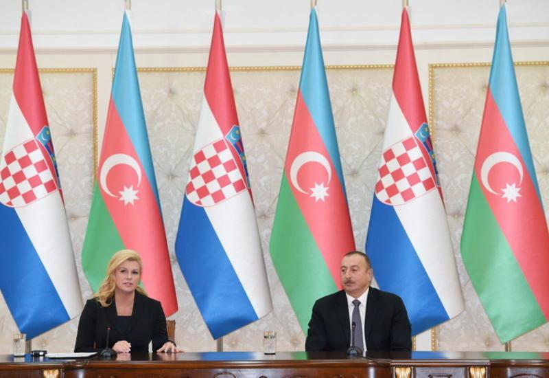 """Президент Ильхам Алиев: Азербайджан надеется, что Хорватия и другие балканские страны присоединятся к """"Южному газовому коридору"""""""