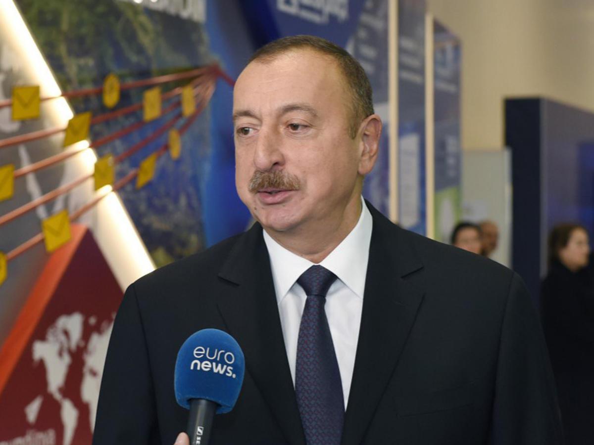 Euronews показал интервью Ильхама Алиева телеканалу и новые технологии на Bakutel-2016