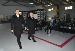 Президент Ильхам Алиев принял участие в церемонии подачи питьевой воды в райцентр и прилегающие села Джульфинского района