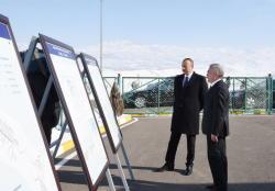 Президент Ильхам Алиев принял участие в сдаче в эксплуатацию системы питьевой воды города Шахбуз и прилегающих сел