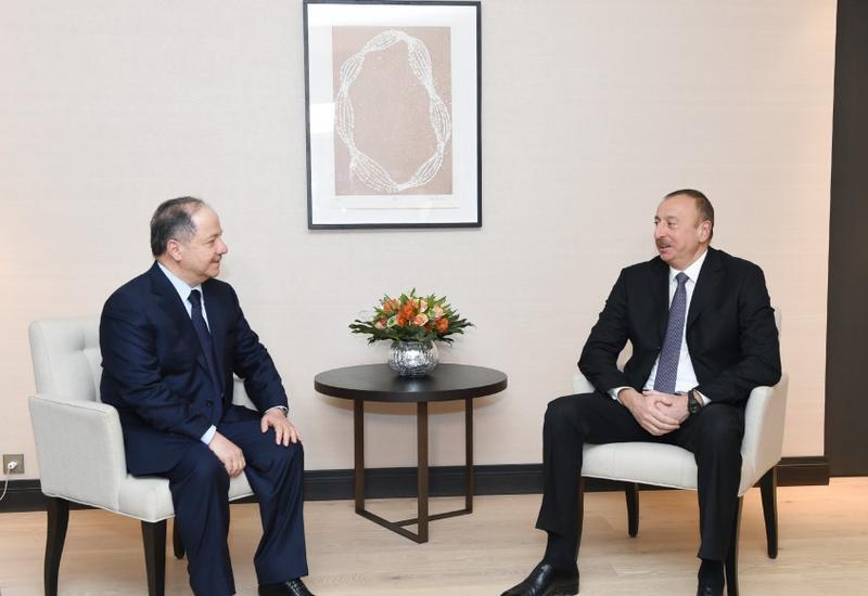 Президент Ильхам Алиев встретился в Давосе с Масудом Барзани