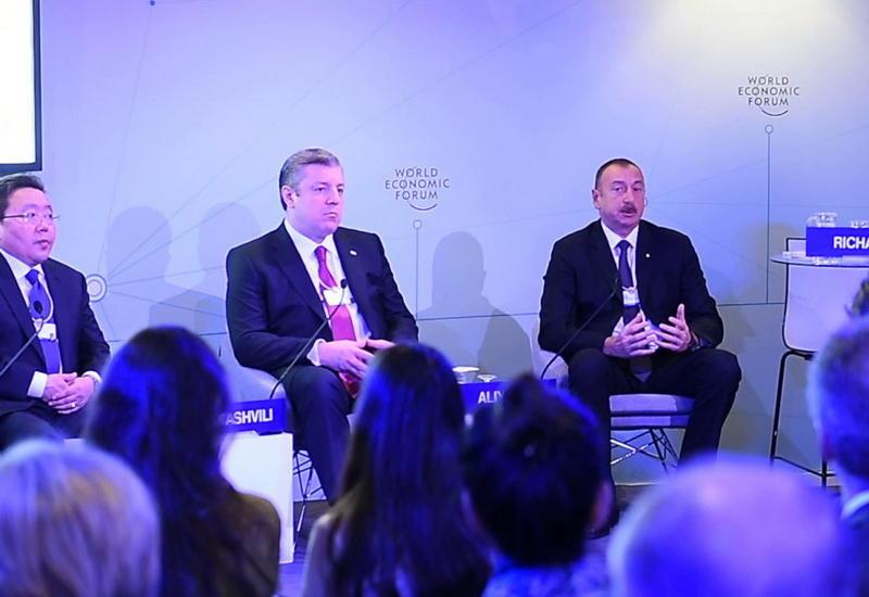 """Президент Ильхам Алиев принял участие в интерактивном заседании """"The Silk Road Effect"""" в Давосе <span class=""""color_red"""">- ФОТО</span>"""
