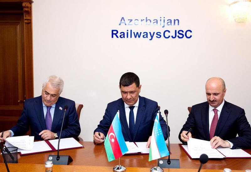 """Азербайджан и Узбекистан будут сотрудничать в сфере железных дорог <span class=""""color_red"""">- ФОТО</span>"""