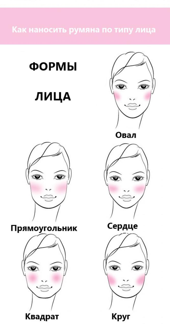 Как нанести румяна на круглое лицо схема