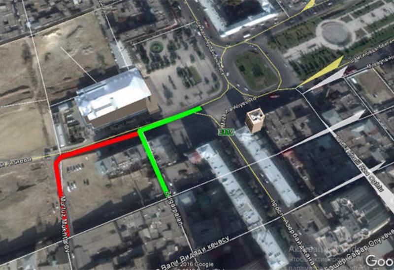 Ограничивается движение транспорта на одной из улиц Баку