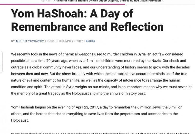 Jewish Journal о Дне памяти Холокоста и Ходжалинской резне