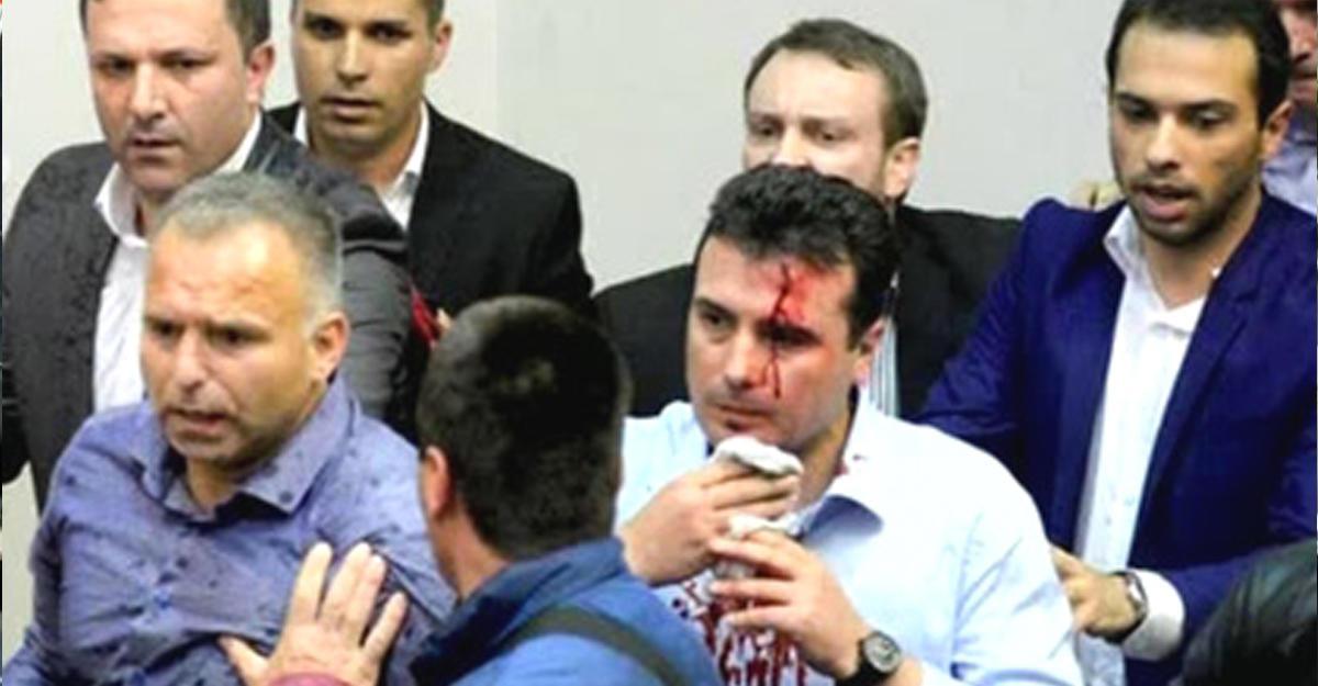 Демонстранты вторглись в строение парламента вМакедонии