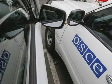 The handover ceremony of ten armored vehicles to the OSCE Special Monitoring Mission (SMM) to Ukraine in Kiev.