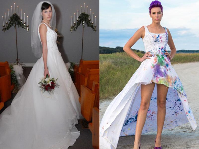 Перешить свадебное платье в вечернее