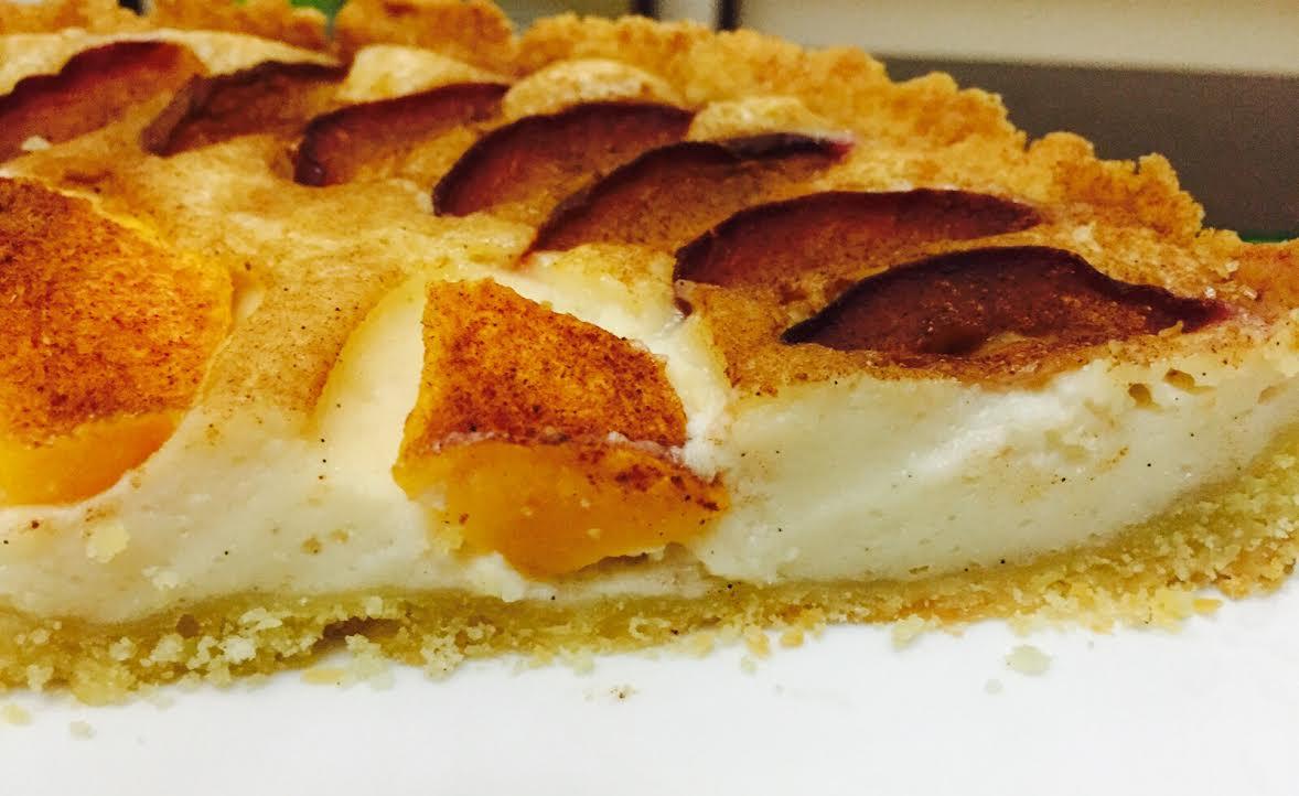 Пирог с персиками и сливой - Пошаговый рецепт - ФОТО