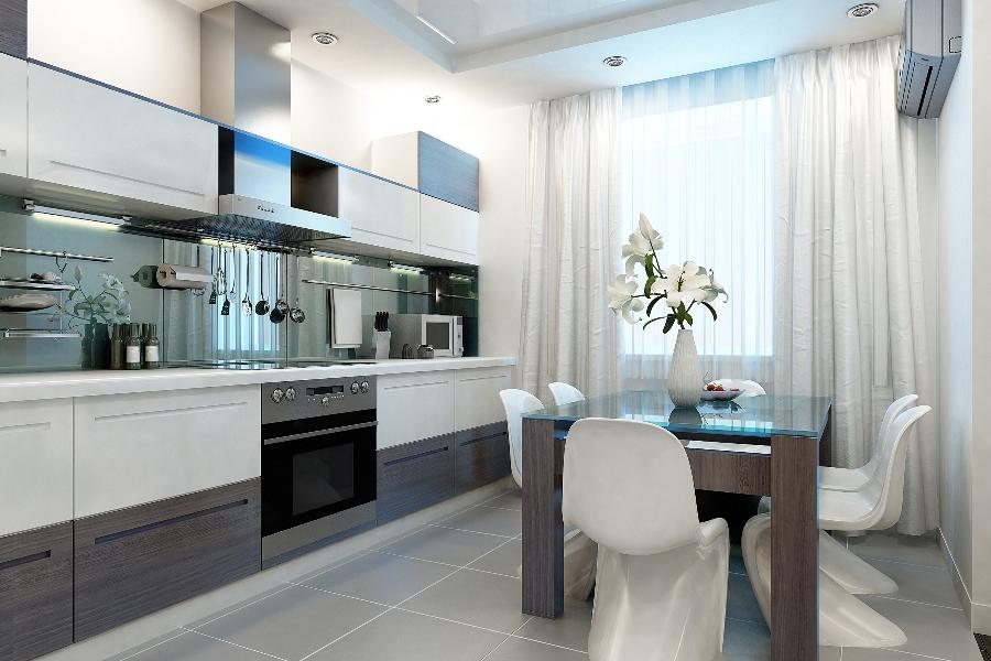Узкие кухни фото