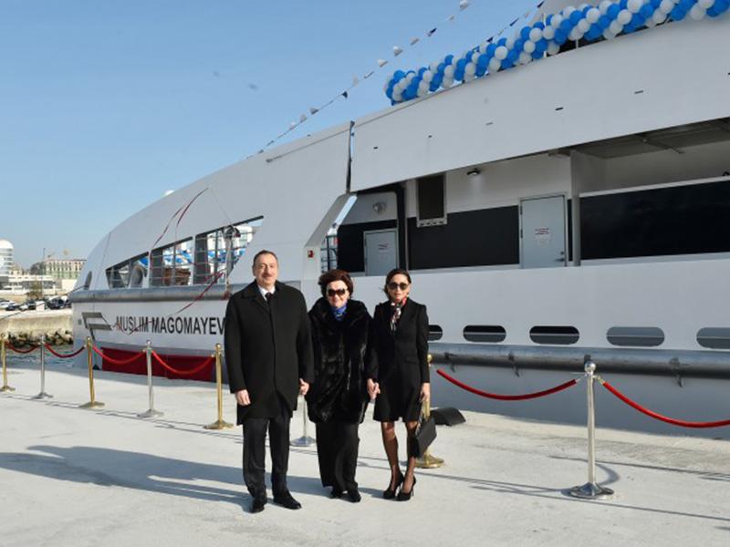 Президент Ильхам Алиев и его супруга Мехрибан Алиева приняли участие в церемонии сдачи в эксплуатацию судна Муслим Магомаев
