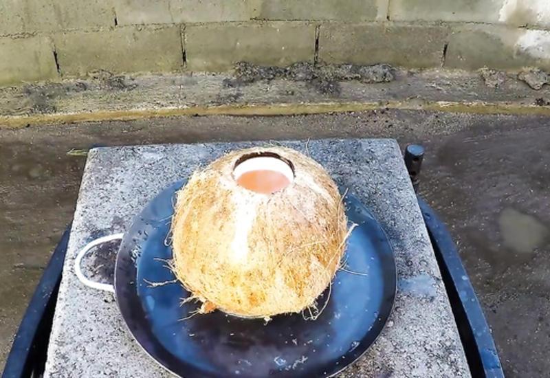 Произведение искусства из меди и кокоса