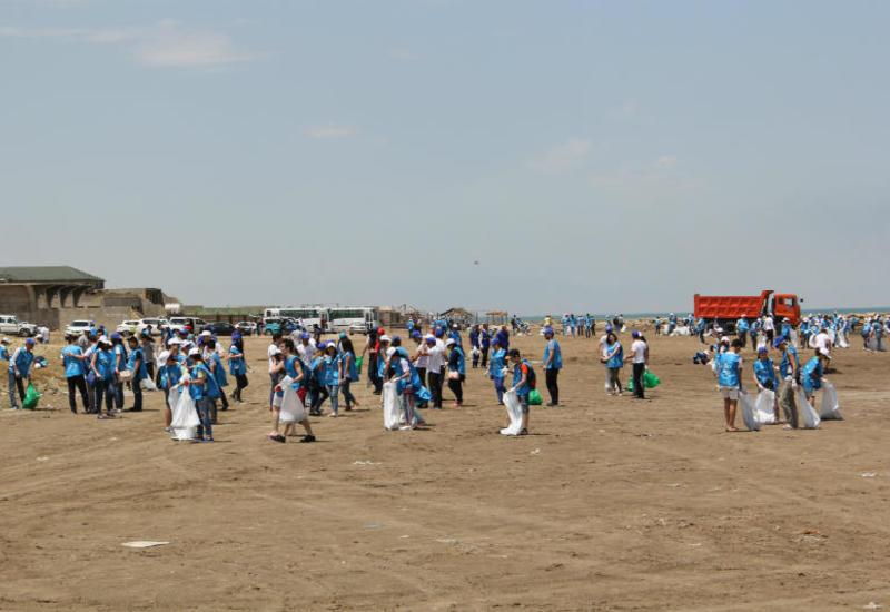"""IDEA и """"Təmiz şəhər"""" провели акцию по очистке бакинского пляжа"""