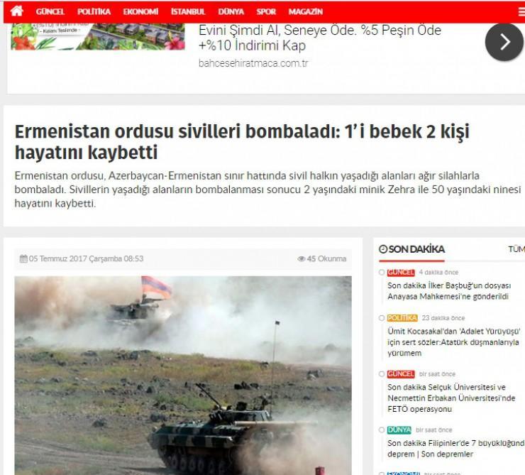 Турецкие СМИ: Агрессорская Армения – убийца детей