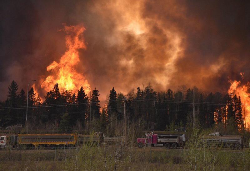 Крупный пожар в Габале, в воздух подняты вертолет и самолет