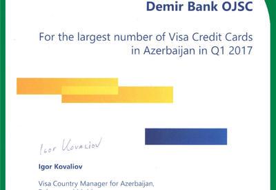 DəmirBankın yeni uğuru: Ən çox sayda kredit kartı təqdim edən Bank