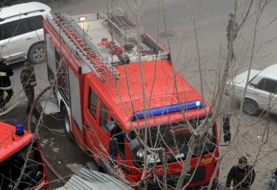 В Хачмазе сгорел цех бетонных изделий