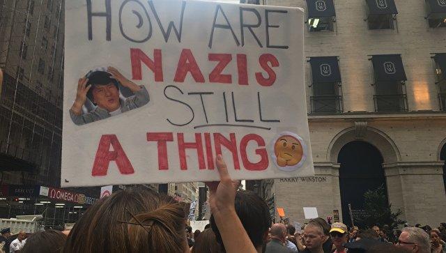 Вцентре Нью-Йорка сотни протестующих ожидают приезда Трампа