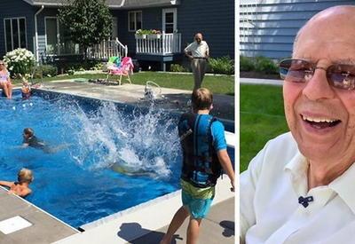 """94-летний одинокий дедушка построил в своем дворе бассейн для всех желающих <span class=""""color_red"""">- ФОТО</span>"""