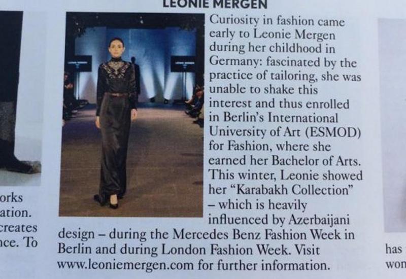 В журнале «Vogue» представлена «Карабахская коллекция» Леони Мерген