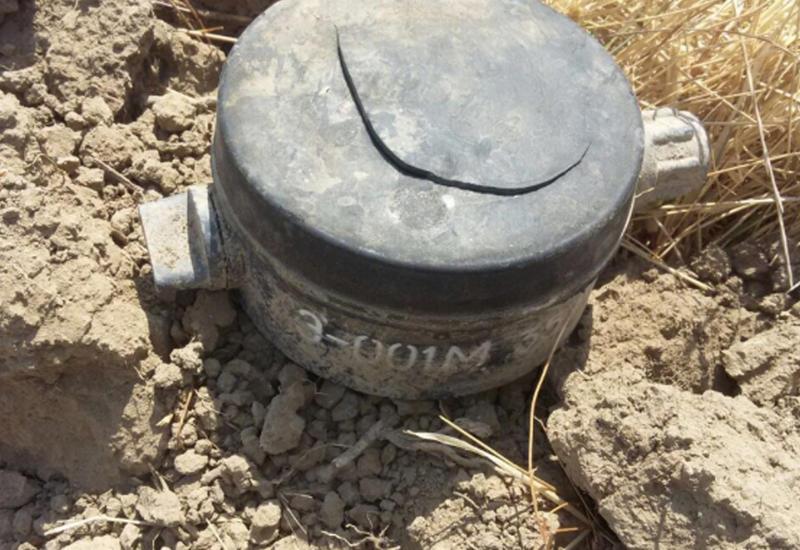 В Агдамском районе обнаружили противопехотную мину производства Армении