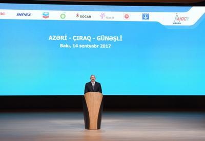 """Президент Ильхам Алиев: Начинается новая эра разработки грандиозного нефтяного месторождения """"Азери-Чыраг-Гюнешли"""""""