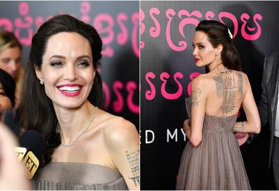 """Джоли в шикарном платье показала татуировки на спине: вот, что они значат <span class=""""color_red"""">- ФОТО</span>"""