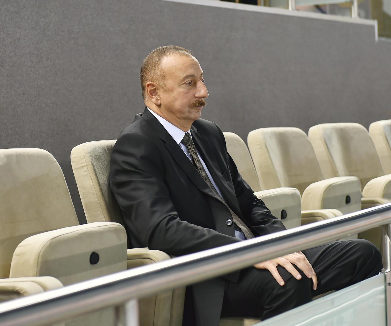 Президент Ильхам Алиев наблюдал за игрой сборной Азербайджана по волейболу - ФОТО
