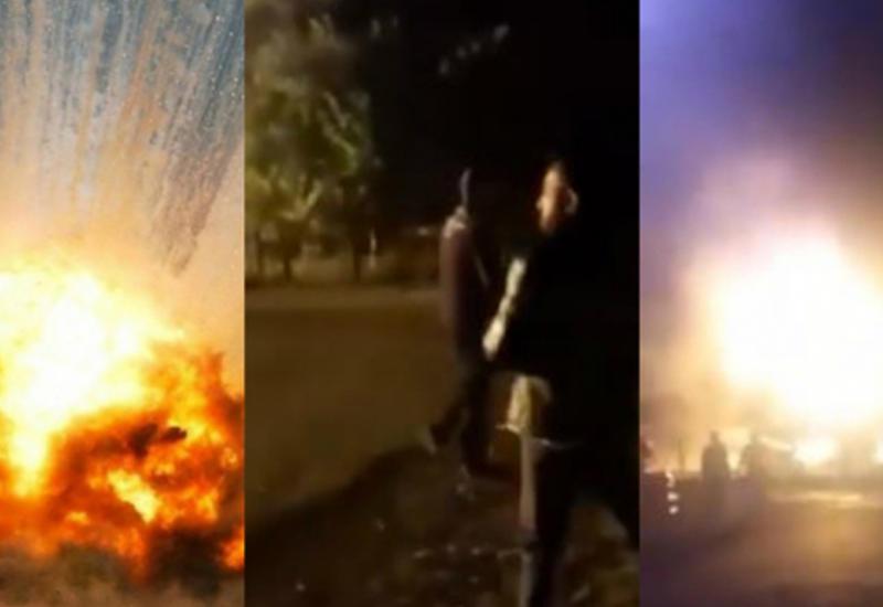 Появилось новое видео взрыва на АЗС в Агджабеди