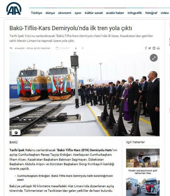 Турецкие СМИ: Открытие железной дороги Баку-Тбилиси-Карс – историческое событие