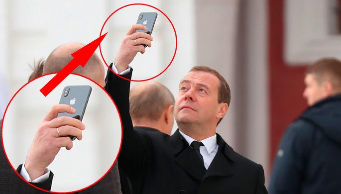 Медведева увидели сновым iPhone Xвовремя поездки вмужской монастырь