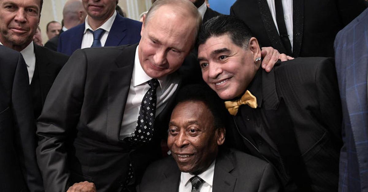 Владимир Путин пообщался сМарадоной, Пеле и иными звёздами футбола