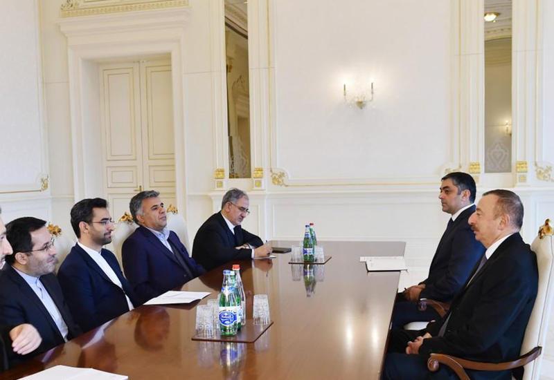 """Президент Ильхам Алиев: Между Азербайджаном и Ираном существуют хорошие возможности для расширения сотрудничества в сфере связи и ИКТ <span class=""""color_red"""">- ФОТО</span>"""
