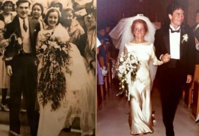 """85 лет и все еще впору: 4 поколения женщин семьи выходят замуж в одном платье <span class=""""color_red"""">- ФОТО</span>"""