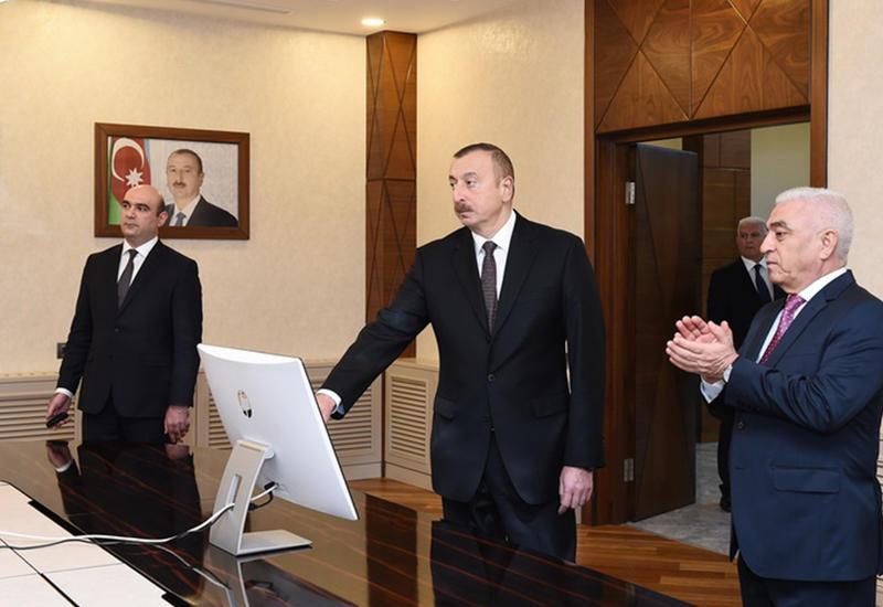 """Президент Ильхам Алиев принял участие в открытии здания Бакинской распределительной сети и подстанций <span class=""""color_red"""">- ФОТО</span>"""