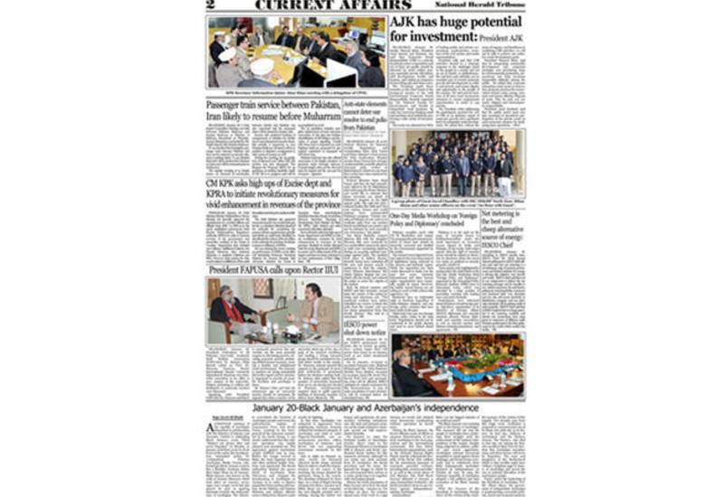 Pakistan mətbuatı 28 il əvvəl Bakıda baş verən hadisələrdən yazıb