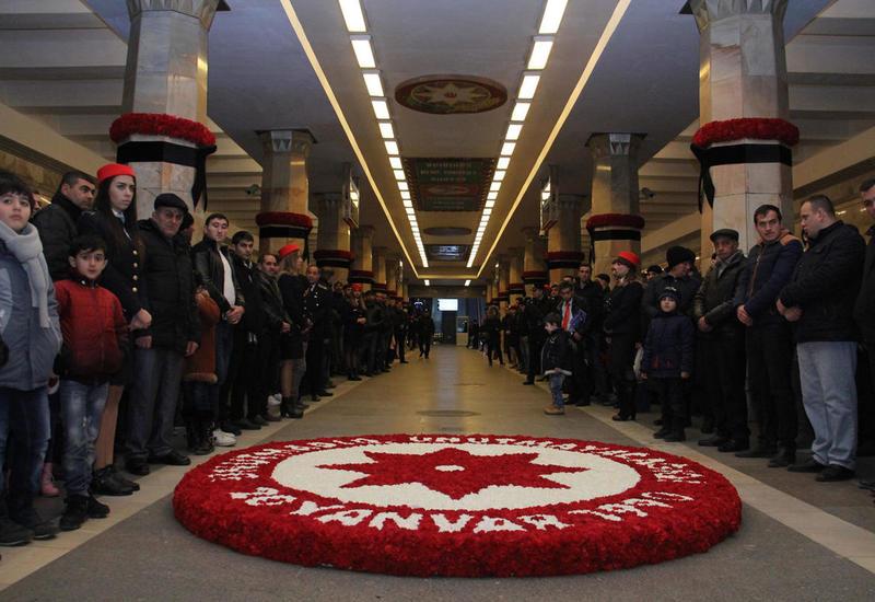 """В бакинском метро почтили память жертв трагедии 20 Января <span class=""""color_red"""">- ФОТО</span>"""