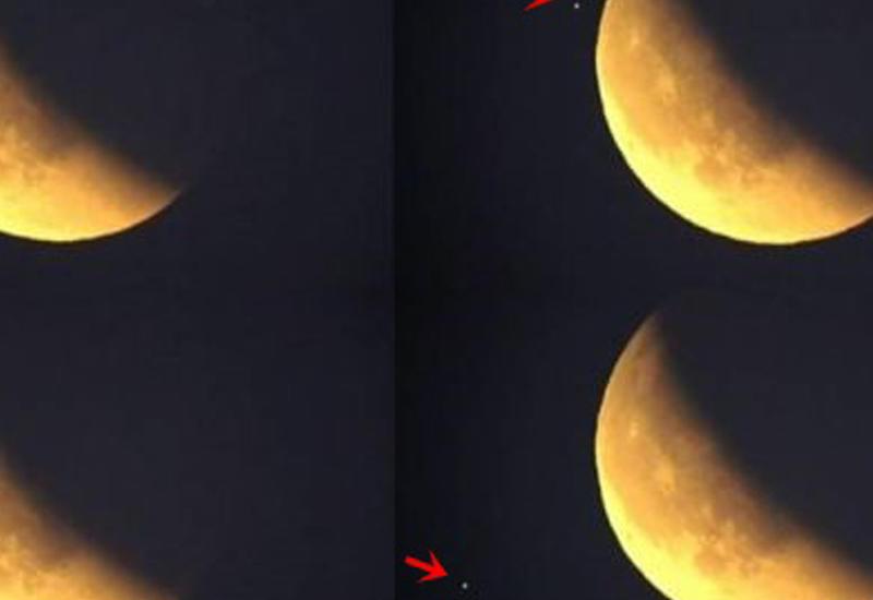 """В сети появились уникальные кадры полета НЛО на фоне """"кровавой Луны"""""""