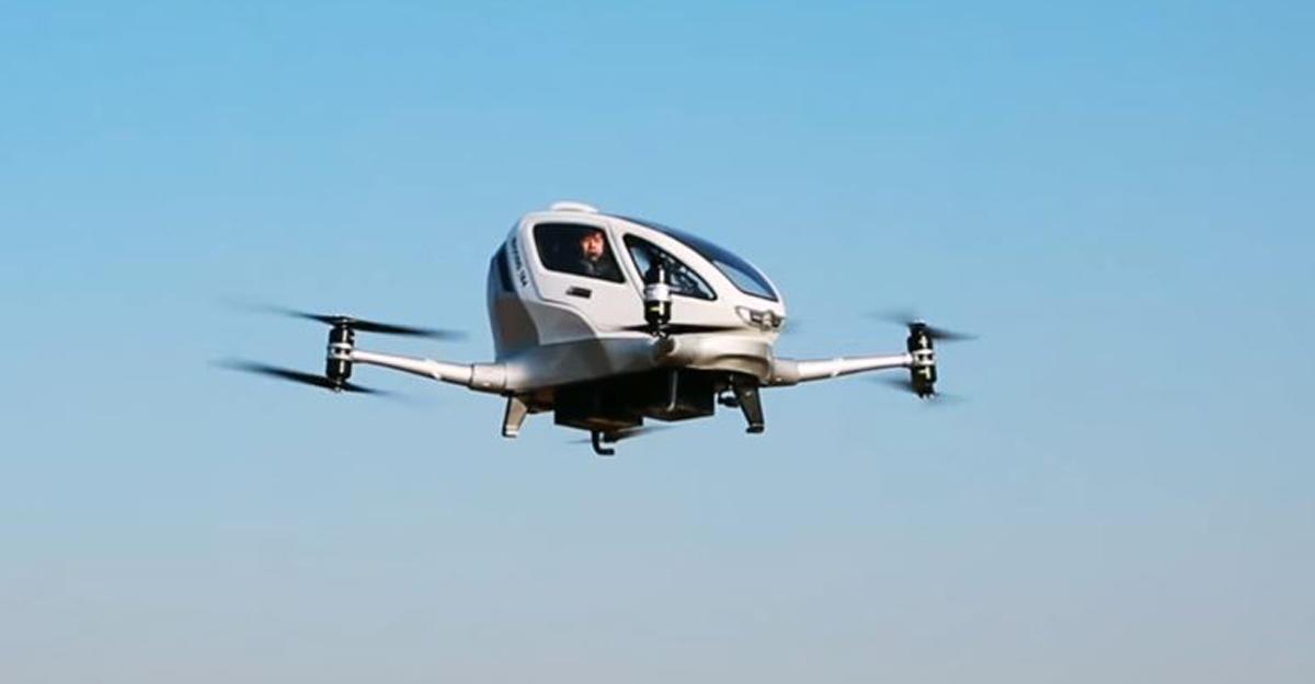 ВКитайской народной республике показали полет первого вмире пассажирского беспилотника