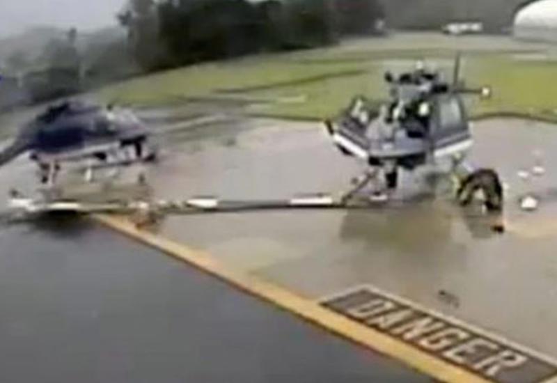 Два полицейских вертолета врезались друг в друга на парковке